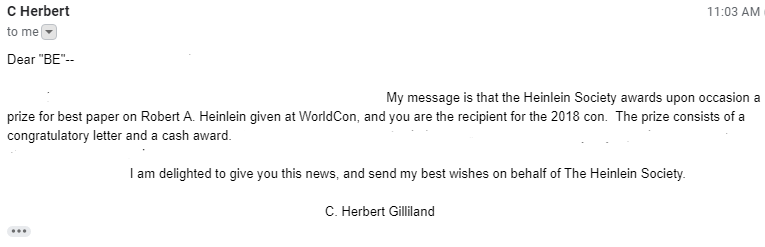Heinlein Award Email